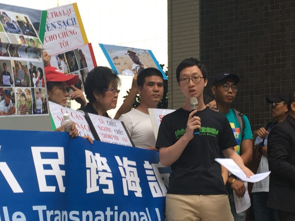 綠色公民行動聯盟柯乾庸質疑,台塑是否會報告,從2018年到現在,台塑一共發生了多少的工安意外,受到在地居民與環保團體幾次抗議,收了幾份環保罰單。